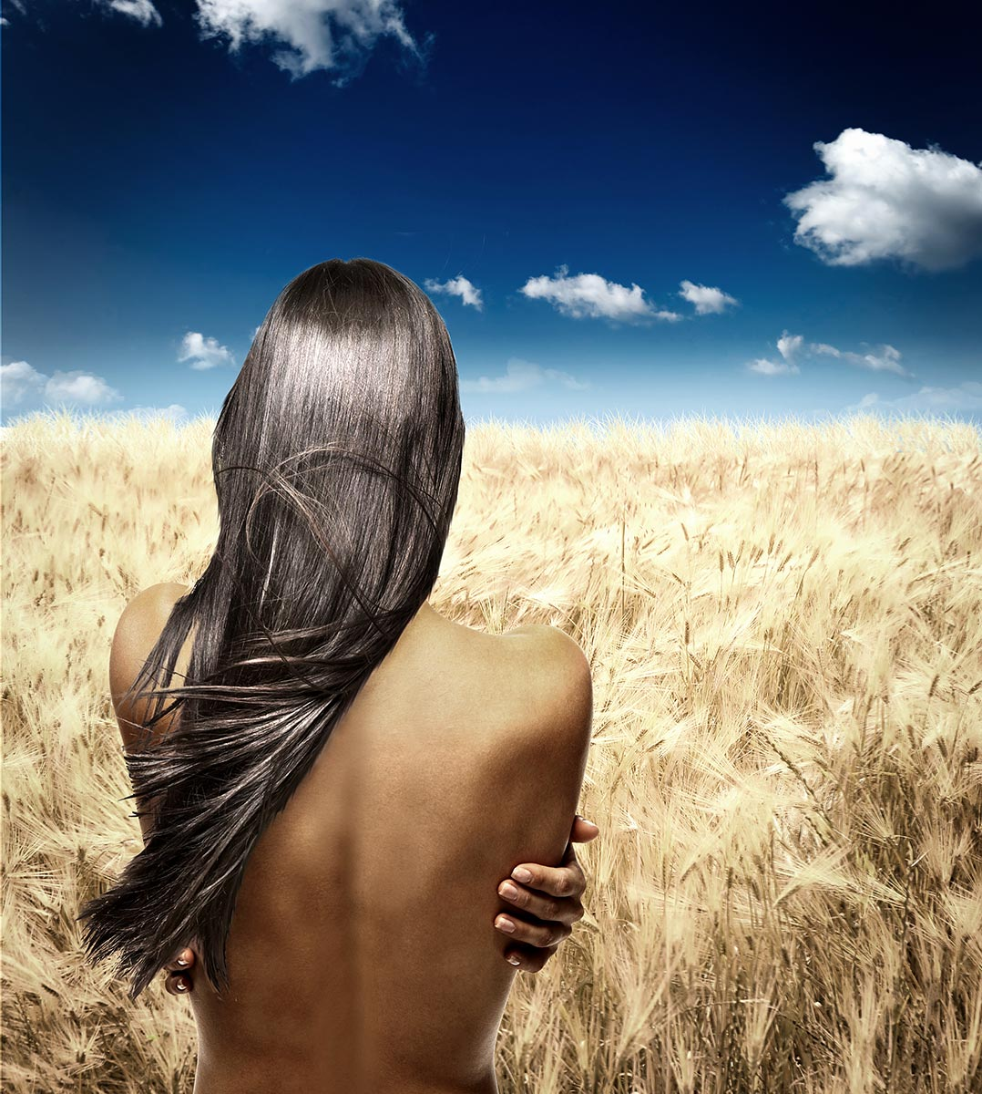 Hair and Wheat Fashion for Female Model