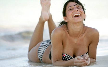 Beach Fashion for Young Brunette Woman