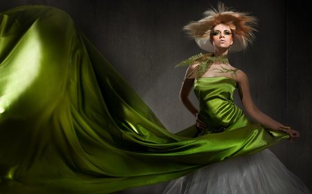 Woman in Green Fashion Swirl